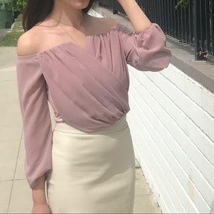 Windsor pink crop top with sleeves
